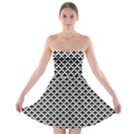 Black and white Triangles pattern, geometric Strapless Bra Top Dress