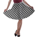 Black and white Triangles pattern, geometric A-line Skater Skirt