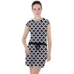 Black and white Triangles pattern, geometric Drawstring Hooded Dress
