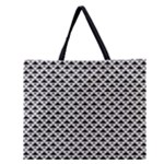 Black and white Triangles pattern, geometric Zipper Large Tote Bag