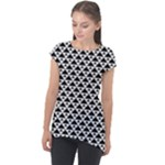 Black and white Triangles pattern, geometric Cap Sleeve High Low Top