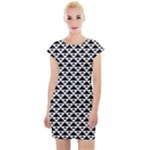 Black and white Triangles pattern, geometric Cap Sleeve Bodycon Dress