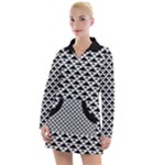 Black and white Triangles pattern, geometric Women s Long Sleeve Casual Dress