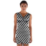 Black and white Triangles pattern, geometric Wrap Front Bodycon Dress