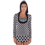 Black and white Triangles pattern, geometric Long Sleeve Hooded T-shirt