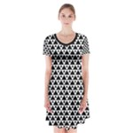 Black and white Triangles pattern, geometric Short Sleeve V-neck Flare Dress
