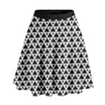 Black and white Triangles pattern, geometric High Waist Skirt