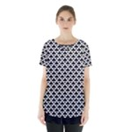 Black and white Triangles pattern, geometric Skirt Hem Sports Top
