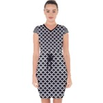 Black and white Triangles pattern, geometric Capsleeve Drawstring Dress