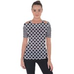 Black and white Triangles pattern, geometric Shoulder Cut Out Short Sleeve Top