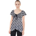 Black and white Triangles pattern, geometric Lace Front Dolly Top