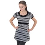 Black and white Triangles pattern, geometric Puff Sleeve Tunic Top