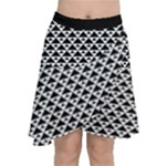 Black and white Triangles pattern, geometric Chiffon Wrap Front Skirt