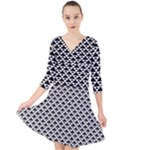 Black and white Triangles pattern, geometric Quarter Sleeve Front Wrap Dress