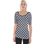 Black and white Triangles pattern, geometric Wide Neckline Tee
