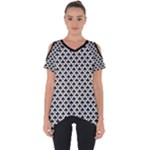 Black and white Triangles pattern, geometric Cut Out Side Drop Tee