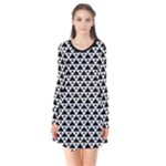 Black and white Triangles pattern, geometric Long Sleeve V-neck Flare Dress