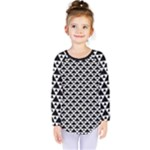Black and white Triangles pattern, geometric Kids  Long Sleeve Tee