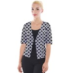 Black and white Triangles pattern, geometric Cropped Button Cardigan