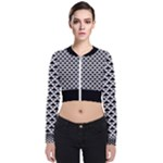 Black and white Triangles pattern, geometric Long Sleeve Zip Up Bomber Jacket