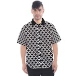 Black and white Triangles pattern, geometric Men s Short Sleeve Shirt
