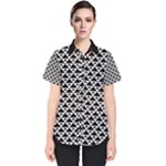 Black and white Triangles pattern, geometric Women s Short Sleeve Shirt