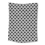 Black and white Triangles pattern, geometric Medium Tapestry