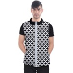 Black and white Triangles pattern, geometric Men s Puffer Vest