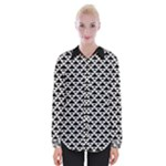 Black and white Triangles pattern, geometric Womens Long Sleeve Shirt