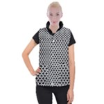 Black and white Triangles pattern, geometric Women s Button Up Vest