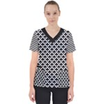Black and white Triangles pattern, geometric Women s V-Neck Scrub Top