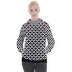 Black and white Triangles pattern, geometric Women s Hooded Pullover