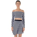 Black and white Triangles pattern, geometric Off Shoulder Top with Skirt Set
