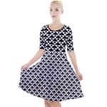 Black and white Triangles pattern, geometric Quarter Sleeve A-Line Dress