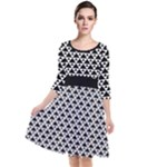 Black and white Triangles pattern, geometric Quarter Sleeve Waist Band Dress