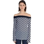 Black and white Triangles pattern, geometric Off Shoulder Long Sleeve Top