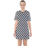 Black and white Triangles pattern, geometric Sixties Short Sleeve Mini Dress