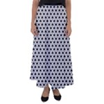 Black and white Triangles pattern, geometric Flared Maxi Skirt