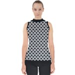Black and white Triangles pattern, geometric Mock Neck Shell Top