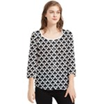 Black and white Triangles pattern, geometric Chiffon Quarter Sleeve Blouse