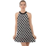 Black and white Triangles pattern, geometric Halter Tie Back Chiffon Dress