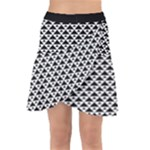 Black and white Triangles pattern, geometric Wrap Front Skirt