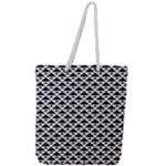 Black and white Triangles pattern, geometric Full Print Rope Handle Tote (Large)