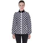 Black and white Triangles pattern, geometric Women s High Neck Windbreaker