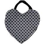 Black and white Triangles pattern, geometric Giant Heart Shaped Tote