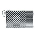 Black and white Triangles pattern, geometric Canvas Cosmetic Bag (Medium)