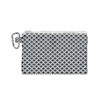 Black and white Triangles pattern, geometric Canvas Cosmetic Bag (Small)