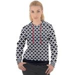 Black and white Triangles pattern, geometric Women s Overhead Hoodie