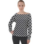 Black and white Triangles pattern, geometric Off Shoulder Long Sleeve Velour Top