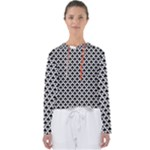 Black and white Triangles pattern, geometric Women s Slouchy Sweat